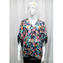 Camiseta de seda con flecos de gasa estampada Lady Fashion Flower (YKY2222)