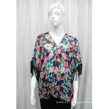 Lady Fashion Flower Printed Polyester Chiffon Fringed Silk T-Shirt (YKY2222)