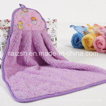 Serviette de microfibre de serviette de main de velours de corail avec le crochet