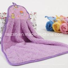 Toalha de microfibra de toalha de mão de veludo coral com gancho