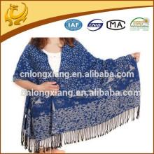 Custom Design Mulheres Long Thick Tassel Moda Floral Cotton Shawl Pashmina
