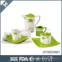 Juego de té de porcelana 24 piezas, juego de cena color con etiqueta de flores