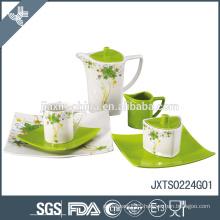 24pcs Porcelain Tea Set, colored dinner set with flower decal