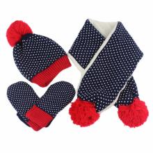 Kids Baby Unisex Children Boys Girls Winter POM POM Beanie Hat Glove Scarf Set (417S)