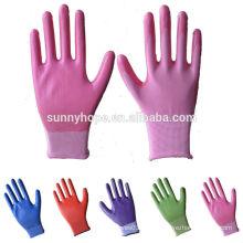 Sunnyhope 13G luvas de trabalho revestidas com nitrilo colorido barato