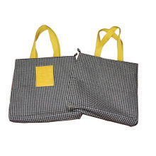 6oz Dogtooth Black Canvas Fabric Carrier Bags Reusable With Zipper Closure