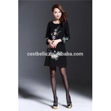 Профессиональное изготовление дешевые Открытый элегантных женщин цветочные печатных платье для осени