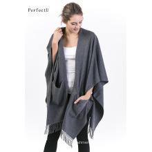 100% Alashan Cashmere Poncho Senhoras Moda Wearable Poncho com bolso;