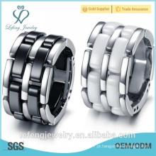 Venda grossista de jóias de canal novo anel de cerâmica preta