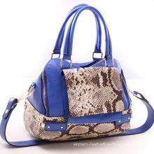 Blue Genuine Leather Animal Print Handbags Lady Bags , Adjustable Shoulder Strap
