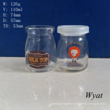 100ml Glass Pudding Jar Glass Milk Jar 4oz Glass Yogurt Jar with Stopper
