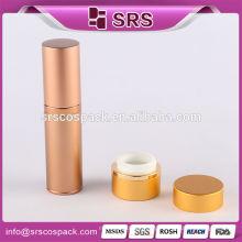China Fabricação Cosmética Container 15ml 30ml 50ml 80ml Golden Redonda Alumínio Garrafa Fabricante