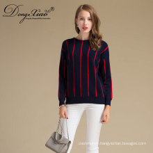 Ofiice Style Computer knitted Wool Fleece Sweater With Strip For Women