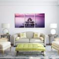 3 Painel Calmness impressão de imagem em tela / Atacado Lavender Cor Mar Wall Art / Wood Bridge Canvas Art