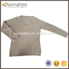 tejer suéter simple de la cachemira de las señoras de los modelos del diamante, suéter hecho punto de la señora