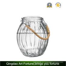 Honda de la vela de cristal de la vela de la manija de la cuerda para la decoración casera al aire libre