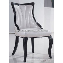 Blanco tapizado de madera maciza comedor silla XYD059