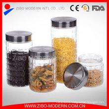 Grid Embossment Glass Jar Wholesale with Black Metal Lid