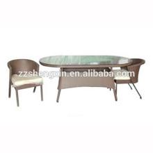 1 + 2 Rattan al aire libre mesa de centro de cristal templado y sillas Sets