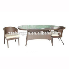 1 + 2 Mesa de café e cadeiras de vidro temperado Rattan ao ar livre