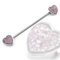 316L Surgical Steel 14g Double Hearts Sandblasted Industrial Piercing Barbell