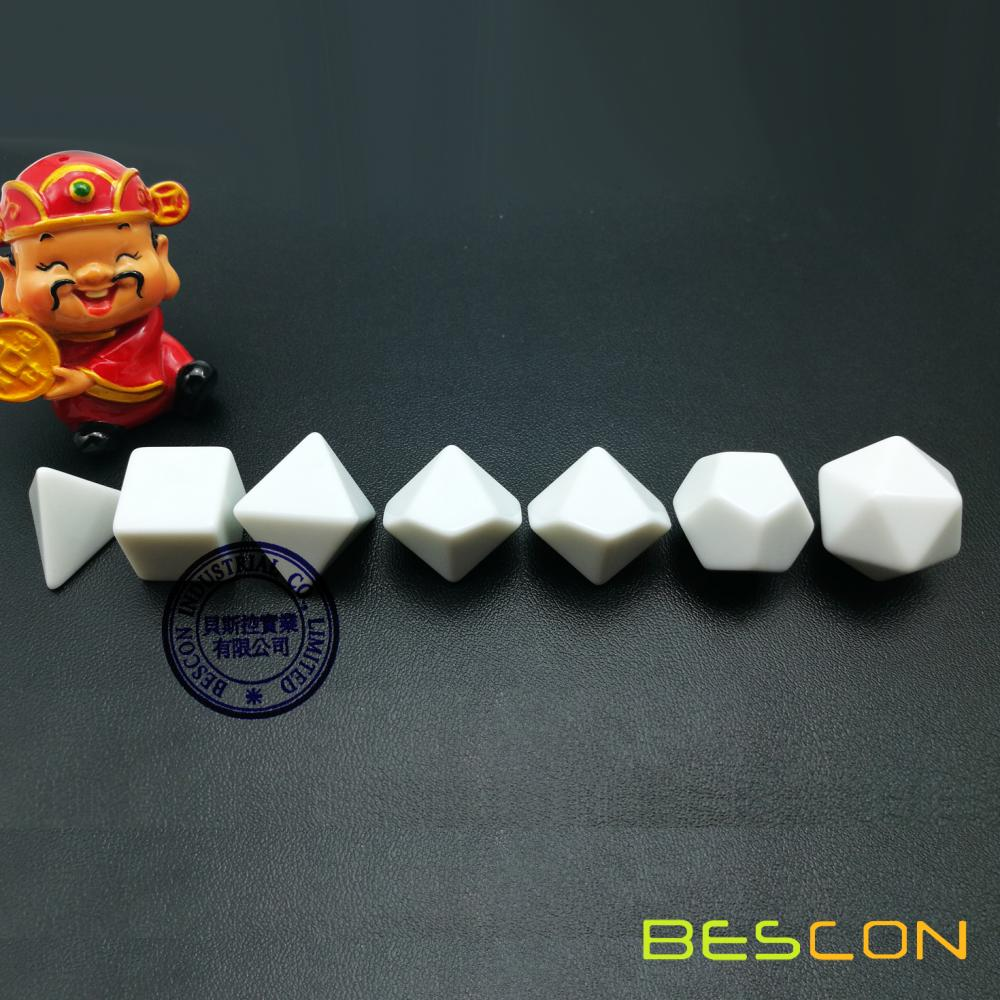 Bescon Blank Polyhedral Dice Set of 7 d4 d6 d8 d10 d12 d20 d%, Flat RPG Dice Set Without Number