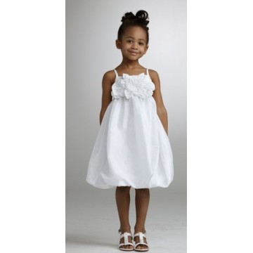 A-ligne bretelles spaghetti au genou taffetas Zipper Flower Girl Dress
