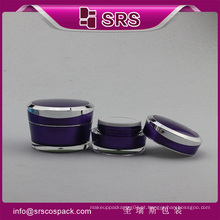 Recipiente acrílico recipiente de jar de cor roxa para cuidados com a pele