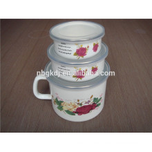 3 sets bulb handle enamel milk pot with PE lid