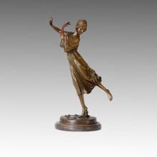 Estatua del bailarín Escultura de bronce femenina de la primavera, P. Philippe TPE-322