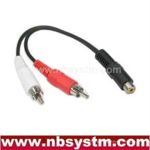 1 RCA jack female to 2 x RCA plug male Y splitter cable