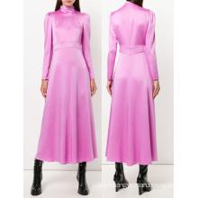 Shiny Pink Long Sleeve Open Hem Dress