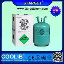 high purity and hot sale Refrigerant r507 gas in 11.3kg/25lb disposable cylinder for sale