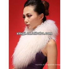 gola de pele de cor natural para casaco com forro