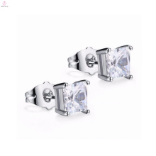 Wholesale High Quality Silver Cz Square Stud Earrings, Cubic Zirconia Silver Plating Brass Stud Earrings