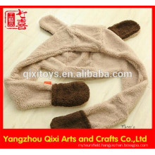 Plush dog shaped shawl scarf cute anial scarf gloves and hat for girls