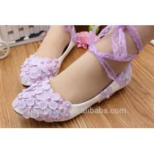 Encaje púrpura con zapatos planos de dama de honor blanco PU pintura de primavera de cuero y zapatos de verano solo en los zapatos de novia de la boda WS024