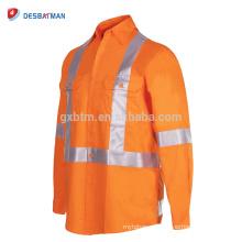 Camisa de trabajo de seguridad naranja completa personalizada Workwear de seguridad de carretera con cinta reflectante trasera y bolsillos