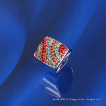 Xuping colorido luxuoso zircão anel de ouro branco