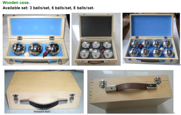 boule in wooden case