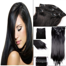 2015 New silky straight clip in hair extensions for black women&african americans