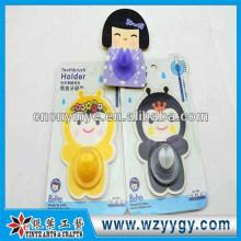 Moda personalizada pvc & papel adesivo porta-escovas, suporte do toothbrush promocional