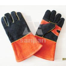 Gant de sécurité en cuir orange noir et blanc