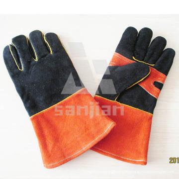 Double Palm Black Orange Leather Ab/Bc Grade Welding Safety Glove