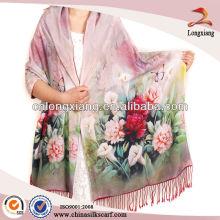 Digital Printed Silk Scarf Tassel Shawl