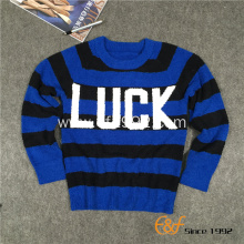 Boy's Crew Neck Stripe Jacquard Pullover Sweater
