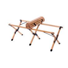 Table en bois roulante portative de camping en bambou extérieur
