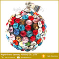 New fashion colorful crystal paved shamballa ear Studs pendant charms
