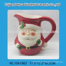 Taza de cerámica al por mayor de la leche con la manija grande en el modelo de santa de la Navidad