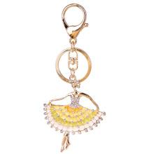 Fashion métal porte-clés cadeaux de la jeune fille pour petite amie, la belle danse fille en plaqué or main métal bijoux de sac avec émail & crystal